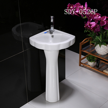 Ceramic Bathroom Small Size Pedestal Basin Corner Pedestal Sink