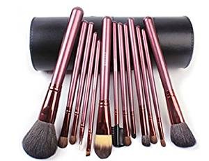 Megaga Makeup Brushes-Studio Quality Natural Cosmetic Brush Set with cup Holder Leather Case , 13 Count (Black) by Megaga Cosmetic