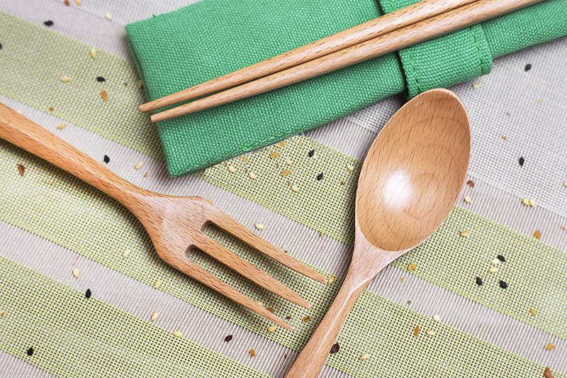Wooden Cutlery Set Travel Utensils Set Eco Friendly Reusable Flatware Fork Spoon Chopsticks With Portable Pouch