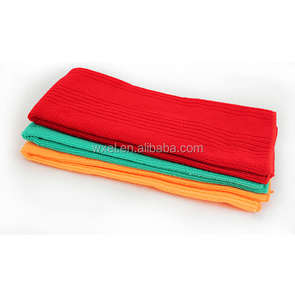 promotion cheap dish wash cloth microfiber fabric small size 30*50cm kitchen towel with paper band.
