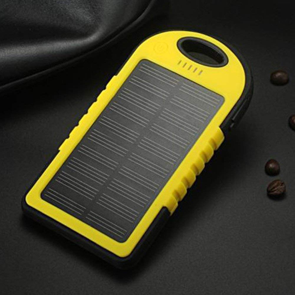 1pc Waterproof Solar Charger 8000MAh Mobile Phone Solar Power Bank Portable Charger 2USB LED Ultra Thin Portable Solar Battery Charger Solar Panel Dust-Proof,Anti-Drop (Yellow)
