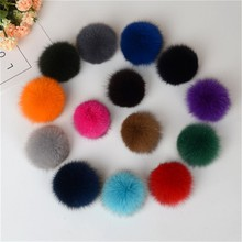 Wholesale fluffy colorful fox fur ball for keychain