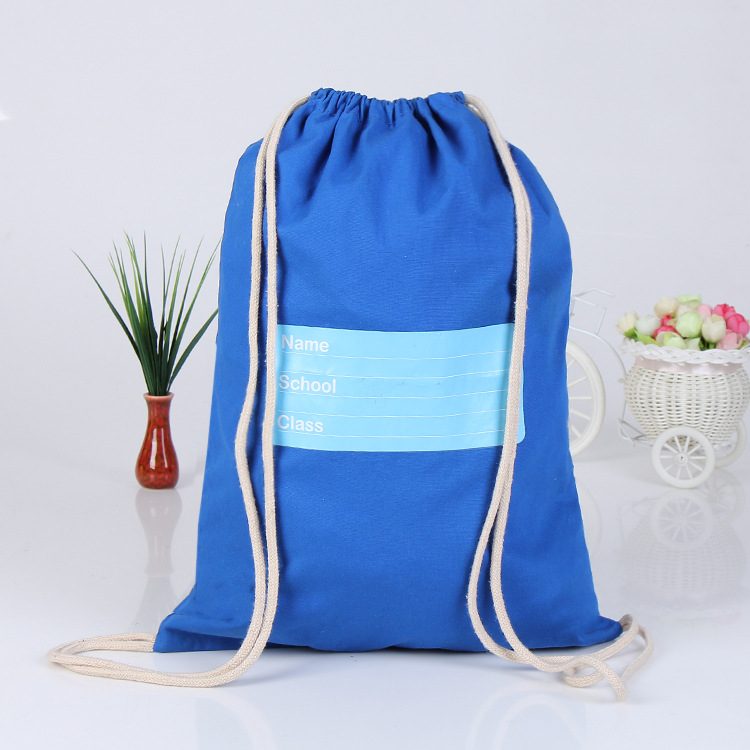 Custom tailored cotton canvas backpack draw string bag Thermal transfer canvas bag quantity is with preferential treatment