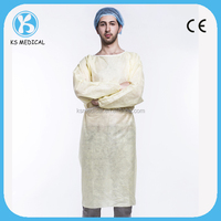 Non-woven disposable yellow isolation gown
