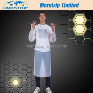 Transparent White Plastic Apron with Sleeves