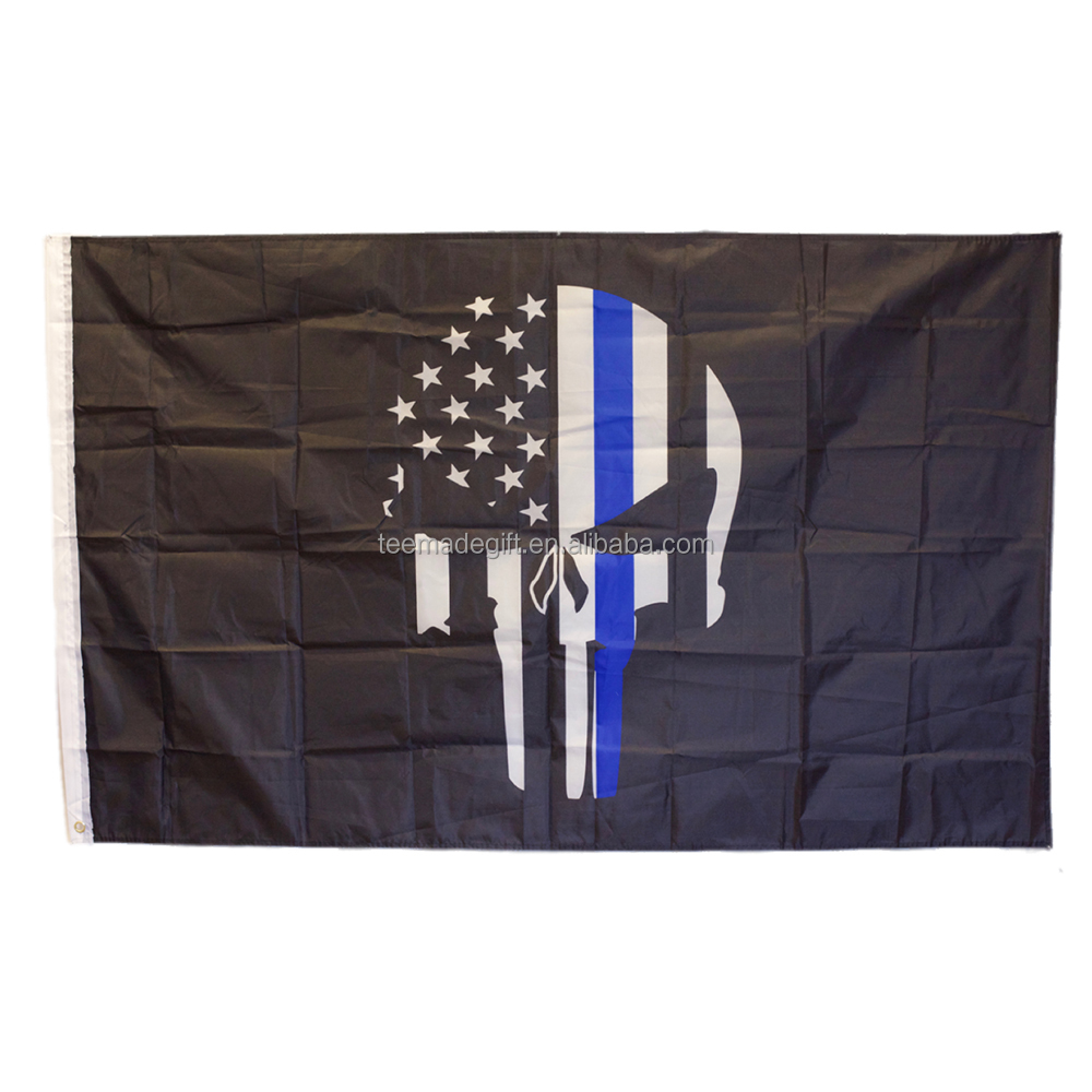 3x5 USA Polizia Punisher Memorial Sottile Linea Blu Bandiera