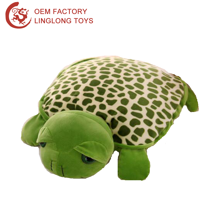 Stuffed Animal Toy Velboa Baby Blanket Green Turtle Pillow Blanket