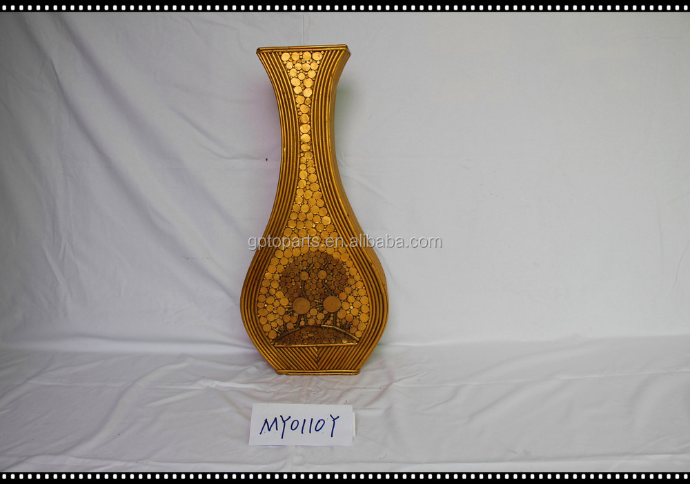 80cm Coarse Rattan Vase French Woven Pattern Bottle Wood Flower Rattan