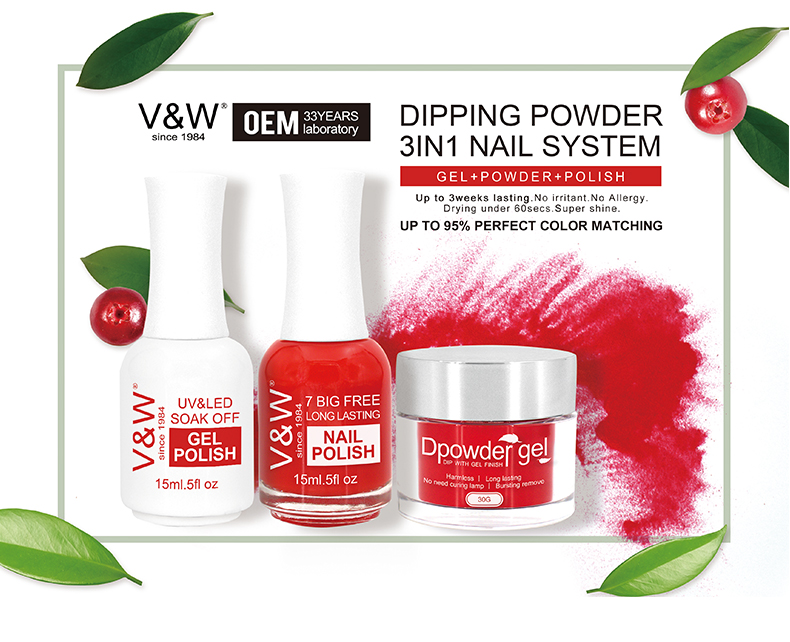 OEM 3 in 1 nail Gel match Acrylic Dipping Powder and Polish color set