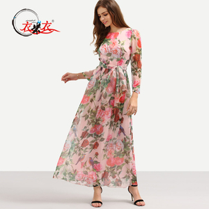 Ladies Floral Dress Patterns Round Neck Long Sleeve Self-Tie Romantic Rose Print Maxi Chiffon Dress