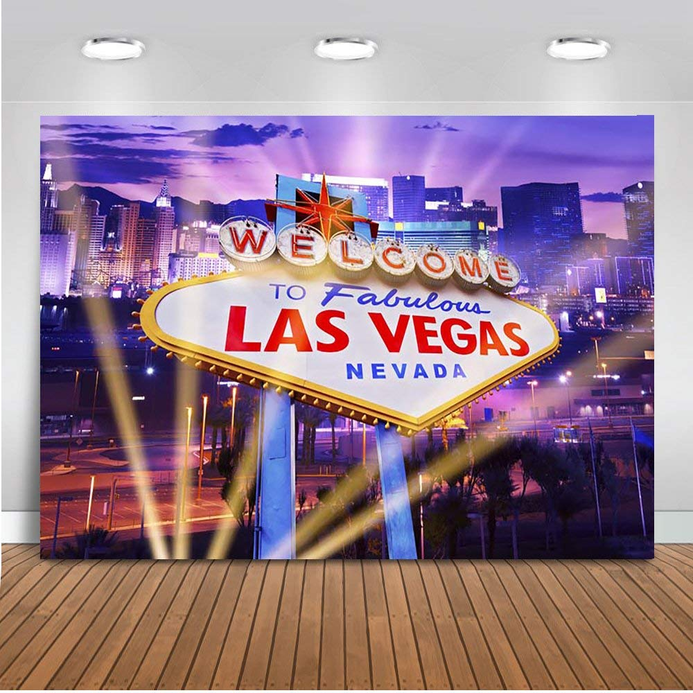 Mehofoto Welcome to Las Vegas Backdrop 7x5ft Vinyl Casino City Night Cityscape Photography Background Personalized Portrait Birthday Party Decoration Backdrops