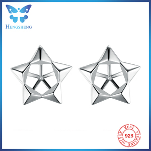 Hengsheng generous five pointed star 925 stud earring parts design for pearl earring jewelry