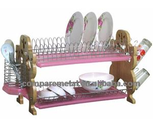 2 layers wooden Kitchen chrome plating commercial dish racks
