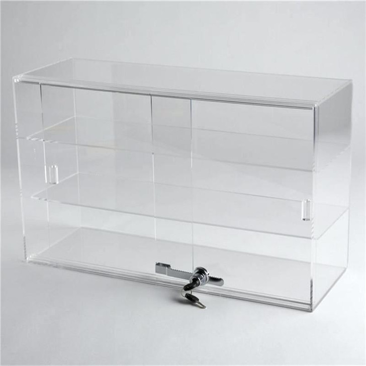 Hot selling tall used acrylic glass display cases wholesale