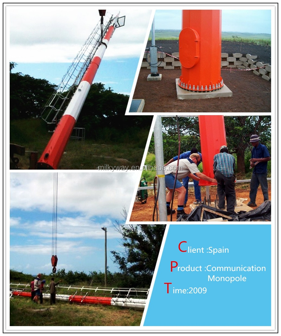 Q345 steel material S355 35m High Mast Light Pole with lifting system