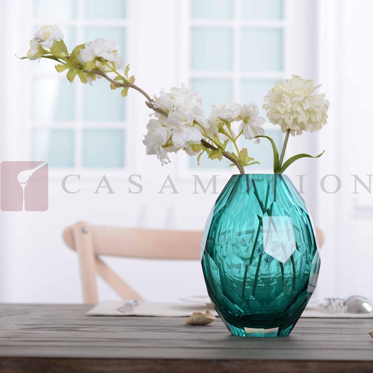 Casamotion turquoise solid color diamond shape shiny for Vase de decoration interieur