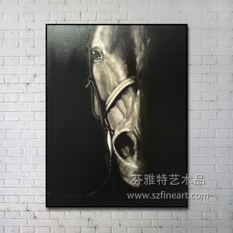 Handmade horse oil painting on canvas