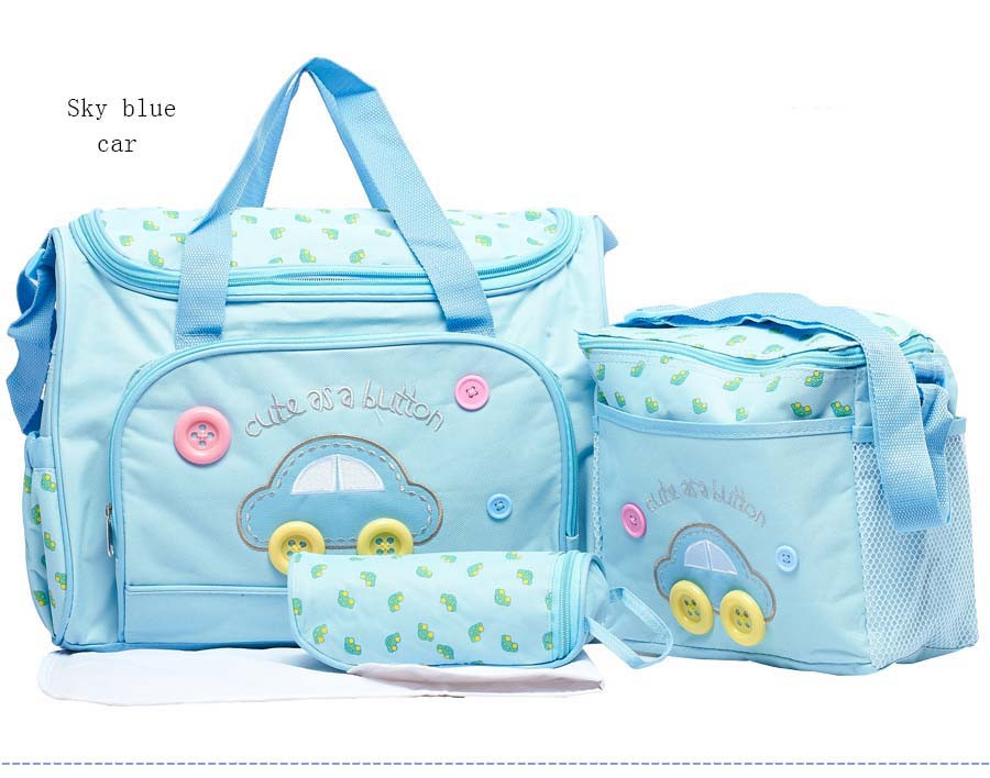 2016Hot sale lovely Fashion 4 pcs nappy mummy bag 600 D print maternity handbag diaper bags baby tote HY-005