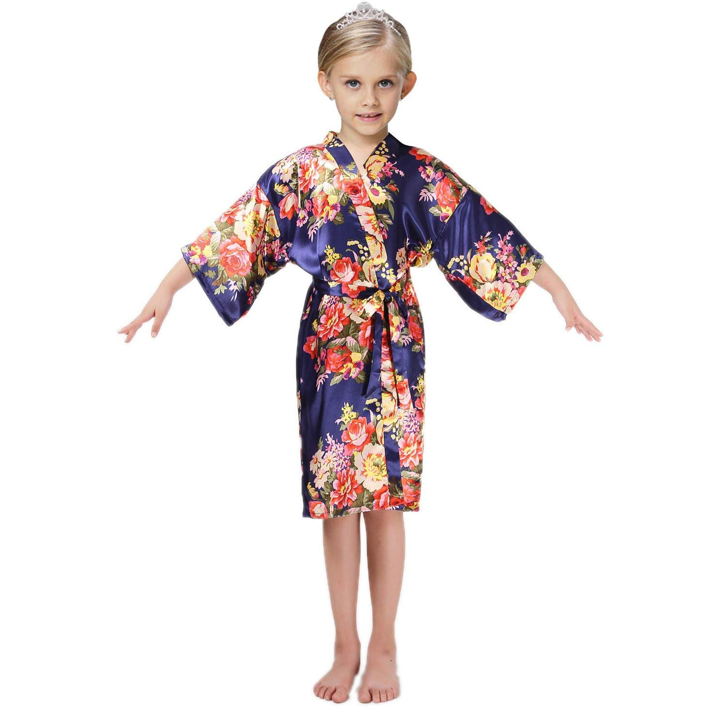 f7eb7d26b8c Get Quotations · FCTREE Girls  Satin Kimono Robe Girls  Nightgown For Spa  Party Wedding Birthday