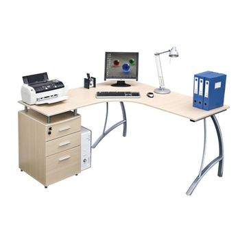 Long L Shaped Computer Table Desk Design With Drawer View Modern