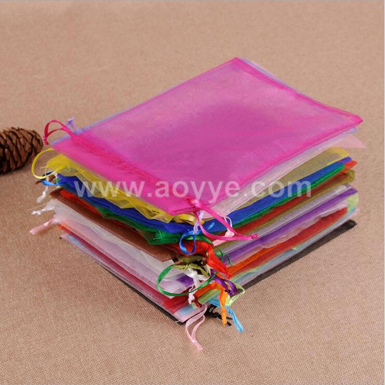 Wholesale factory cheap wedding pure color candy organza drawstring gift packaging pouch/nylon tulle bag