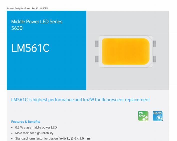 High Quality Samsung 5630 Lm561c 0.5w 56-70lumens Ra80 5630 Smd ...