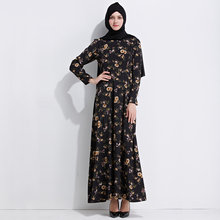 2019 <span class=keywords><strong>Mode</strong></span> <span class=keywords><strong>Abaya</strong></span> Facile à Porter Femmes Musulmanes Robe impression fleur longue taille <span class=keywords><strong>Abaya</strong></span>