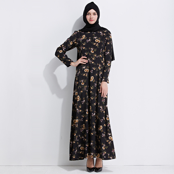 2019 Fashion Abaya Easy to Wear Muslim Women Dress printing floral long size Abaya