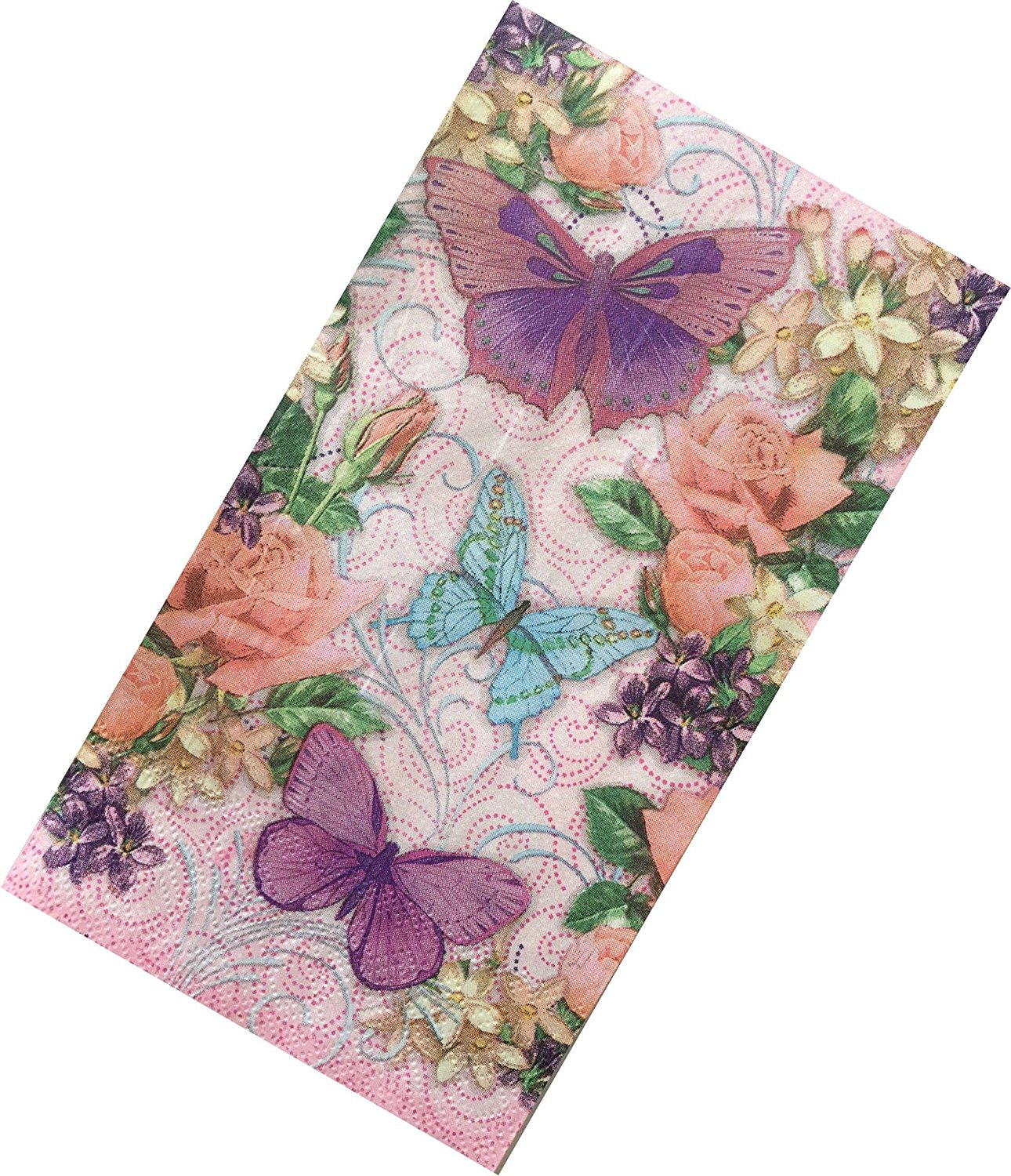 """Custom Made & Disposable {13"""" x 16"""" Inch} 2 Set Count of 3 Ply Jumbo Size Rectangle """"Multi-Half Fold"""" Food & Beverage Napkins, Made of Soft Absorbent Paper w/ Butterflies & Roses {Blue, Pink & Purple}"""