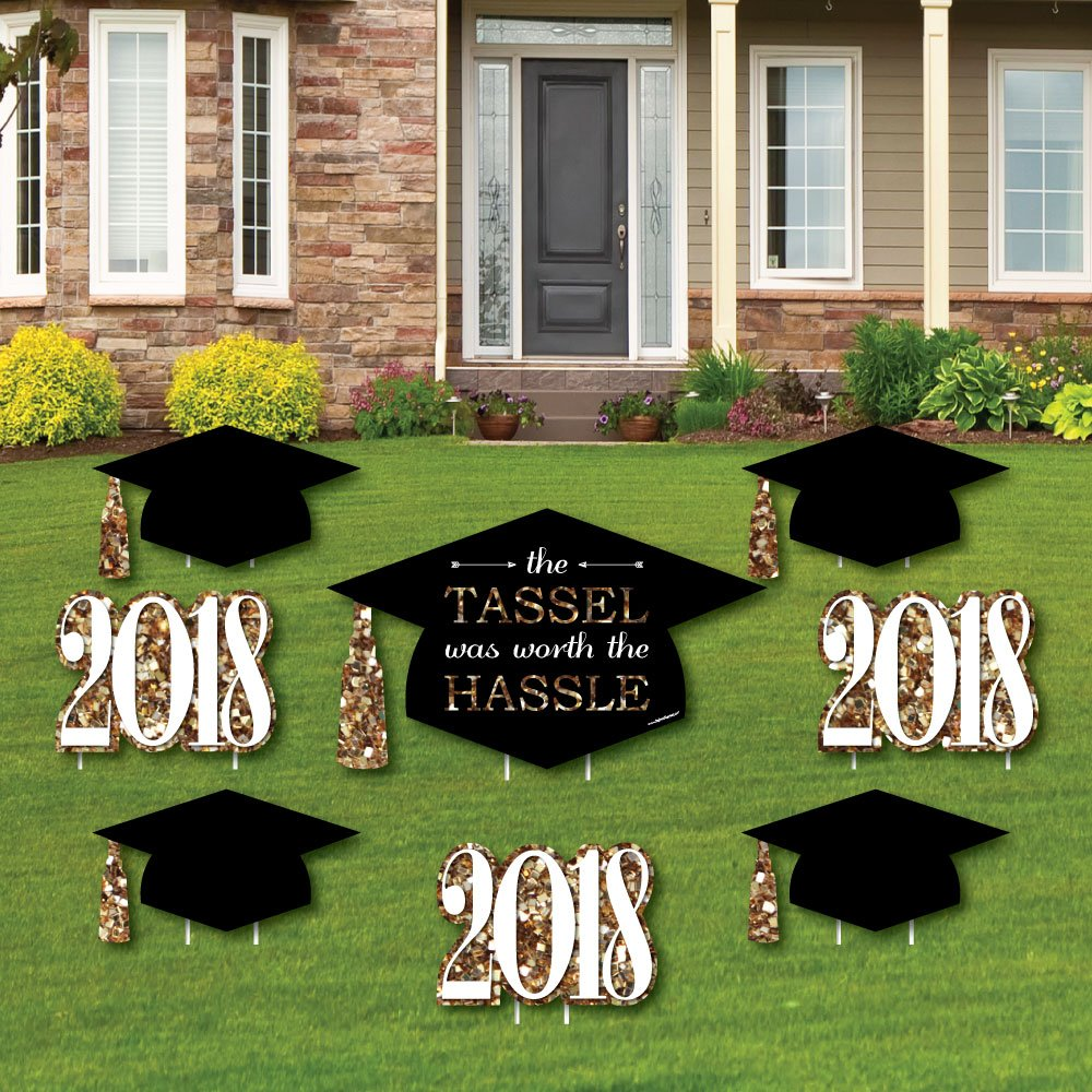Big Dot of Happiness Gold - Tassel Worth The Hassle - Yard Sign & Outdoor Lawn Decorations - 2018 Graduation Party Yard Signs - Set of 8
