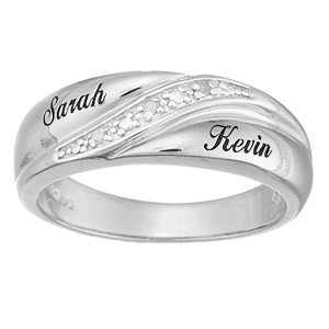 Mens Sterling Silver Diamond Name Wedding Band Ring Product On Alibaba