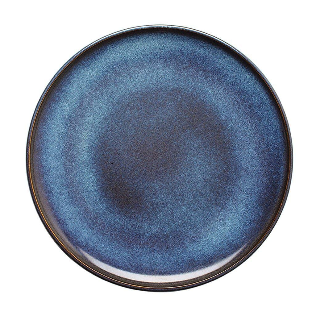 Creative Gradient Blue Ceramic Meal Plate - 11 Inches Soup Plate Japanese Style Fruit Salad Plate, Restaurant Steak Pasta Disc