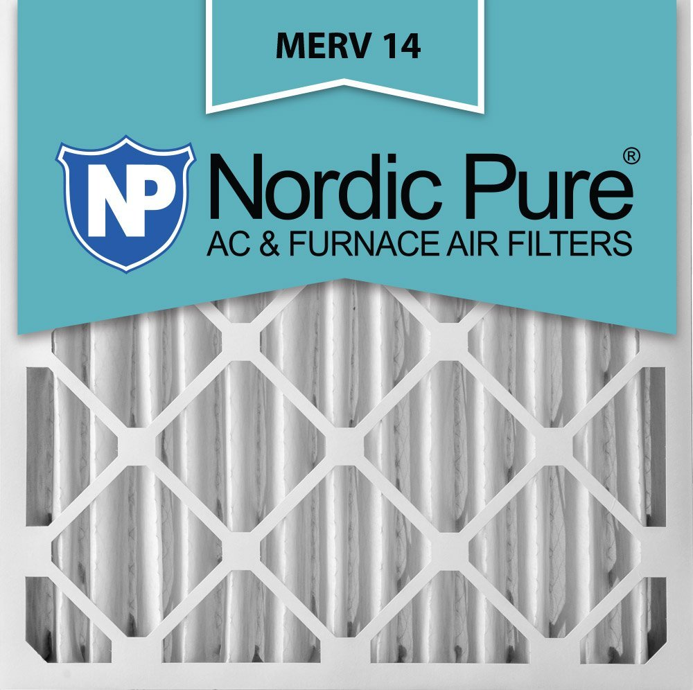Nordic Pure 16x25x4 (3-5/8 Actual Depth) MERV 14 Pleated AC Furnace Air Filter, Box of 2