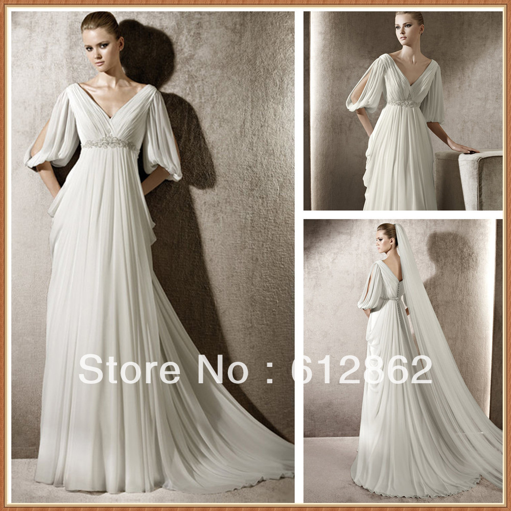 Grecian Style Wedding Gown: Aliexpress.com : Buy Elegant V Neck Open Half Sleeves