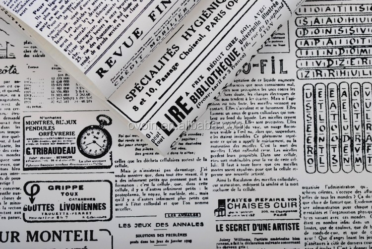 Vintage English Letter Textured Wall Paper Newspaper