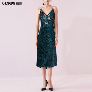 Sexy elegant women green embroidered velvet dress