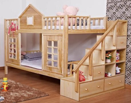 unique wooden children double bunk beds kids bunk beds with stair b0055 wholesale