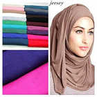 Custom comfortable fabric solid color machine hemming cotton modal muslim women scarf shawls arab jersey hijab