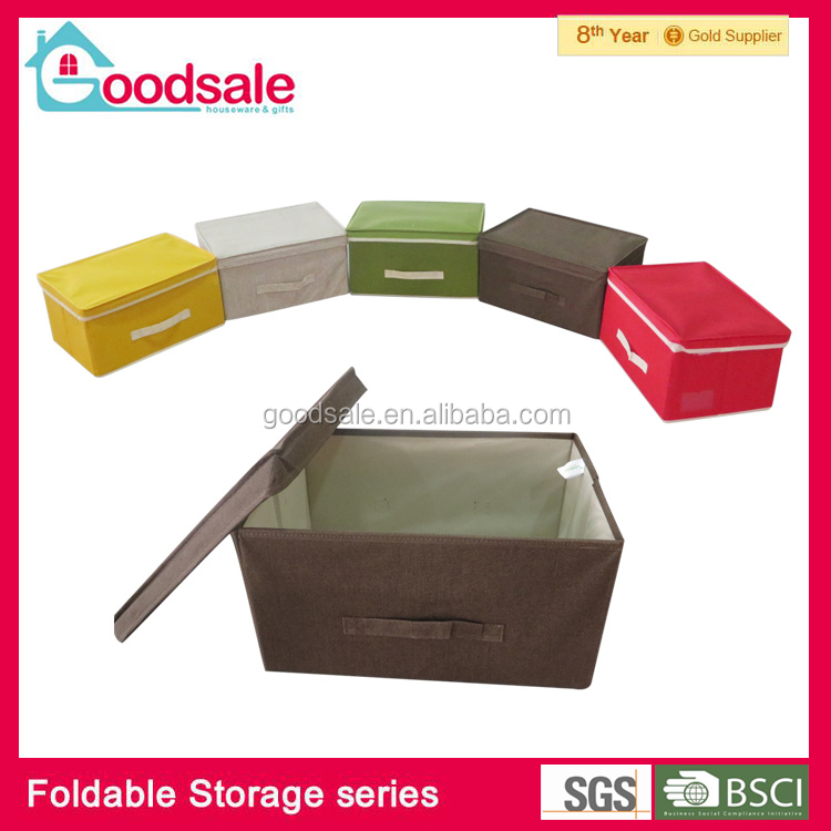 Large capacity brown toys bins kids collapsible storage cube boxes