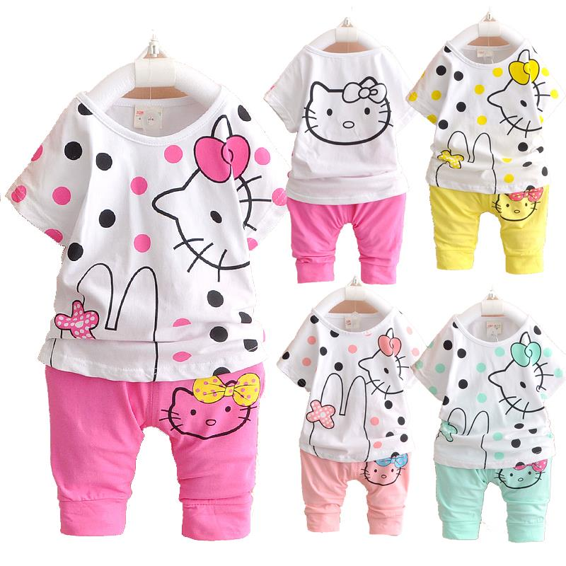 b8d0368b3 Get Quotations · 2015 New Summer Cute Cartoon Baby Clothing Sets Toddler Girl  Clothing Hello Kitty Kids Clothes Sets