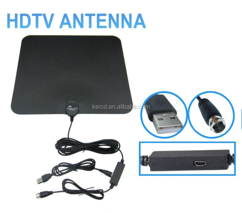 Hot selling Flat HD Digital Indoor Amplified TV Antenna 50 Miles Range TV ISDB ATSC DVB-T DVB-T2 Indoor Digital TV Antenna