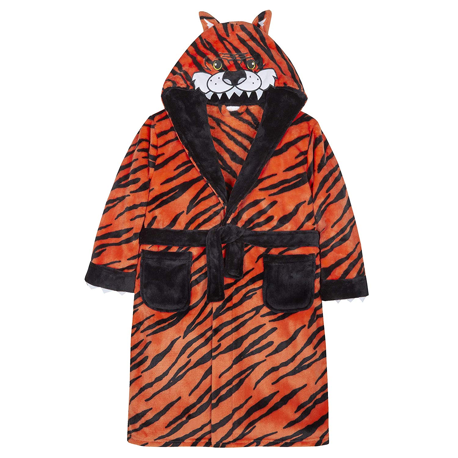 b083215bf7 Get Quotations · 4Kidz Boys Plush Fleece Novelty Tiger Hood Dressing Gown