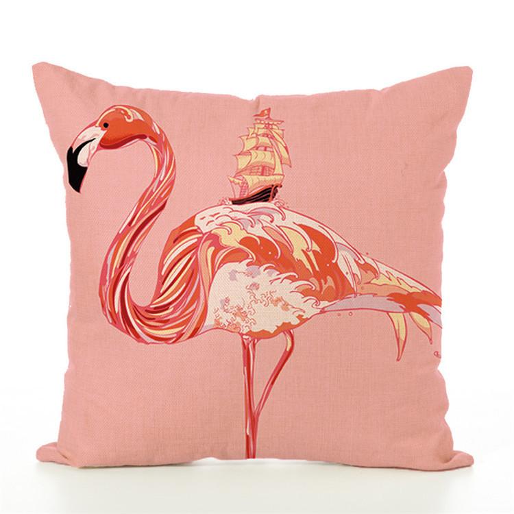 Popular Flamingo Customized Printing linen pillow cover