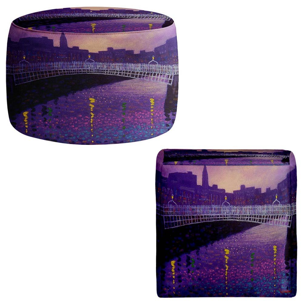 Foot Stools Poufs Chairs Round or Square from DiaNoche Designs by John Nolan Purple Mist Ha Penny Bridge