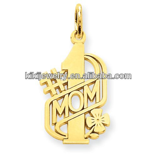 high quality gold plated number 1 mom charms western pendants for jewelry making
