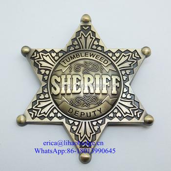 Custom Gold Plating Sheriff Star Badge - Buy Personalized Sheriff  Badge,Star Pin Badge,Cheap Custom Badge Product on Alibaba com
