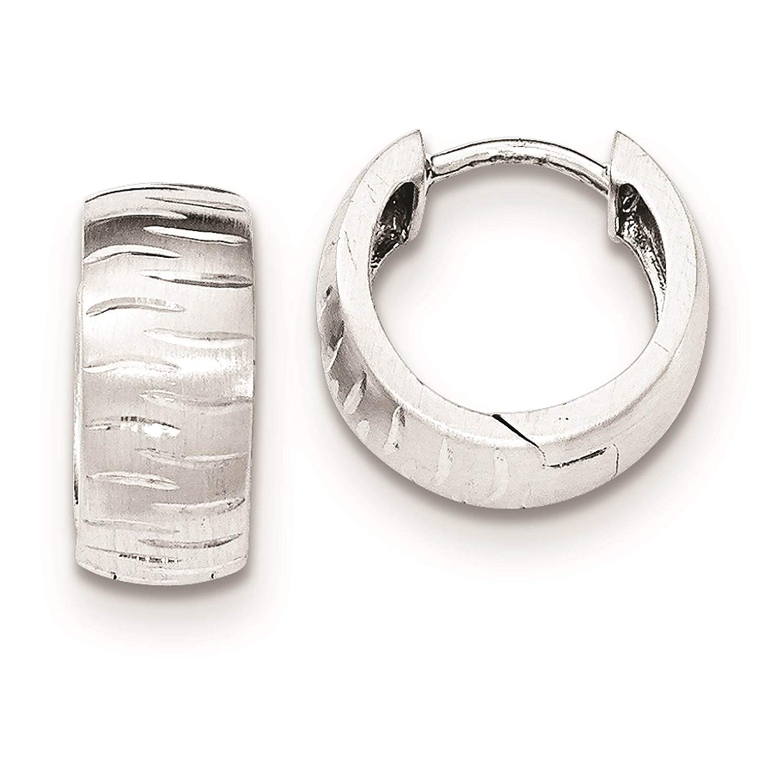 .925 Sterling Silver Polished & Diamond-cut Huggy Hoop Earrings