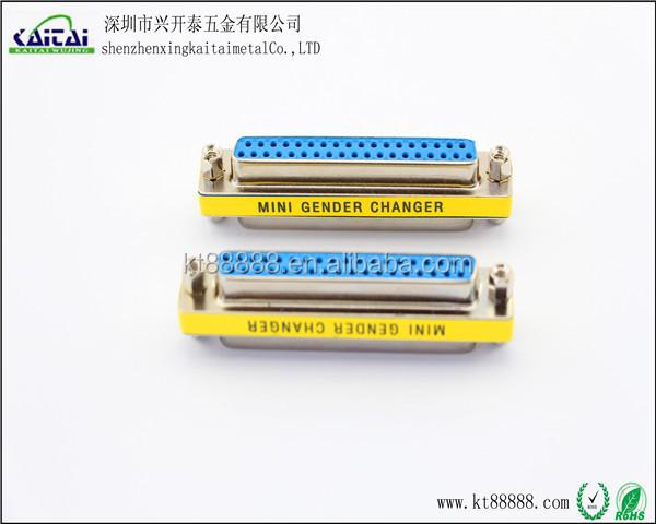 Black DB25 25 Pin Mini Female to Female Gender Changer Plug Mini Adapter