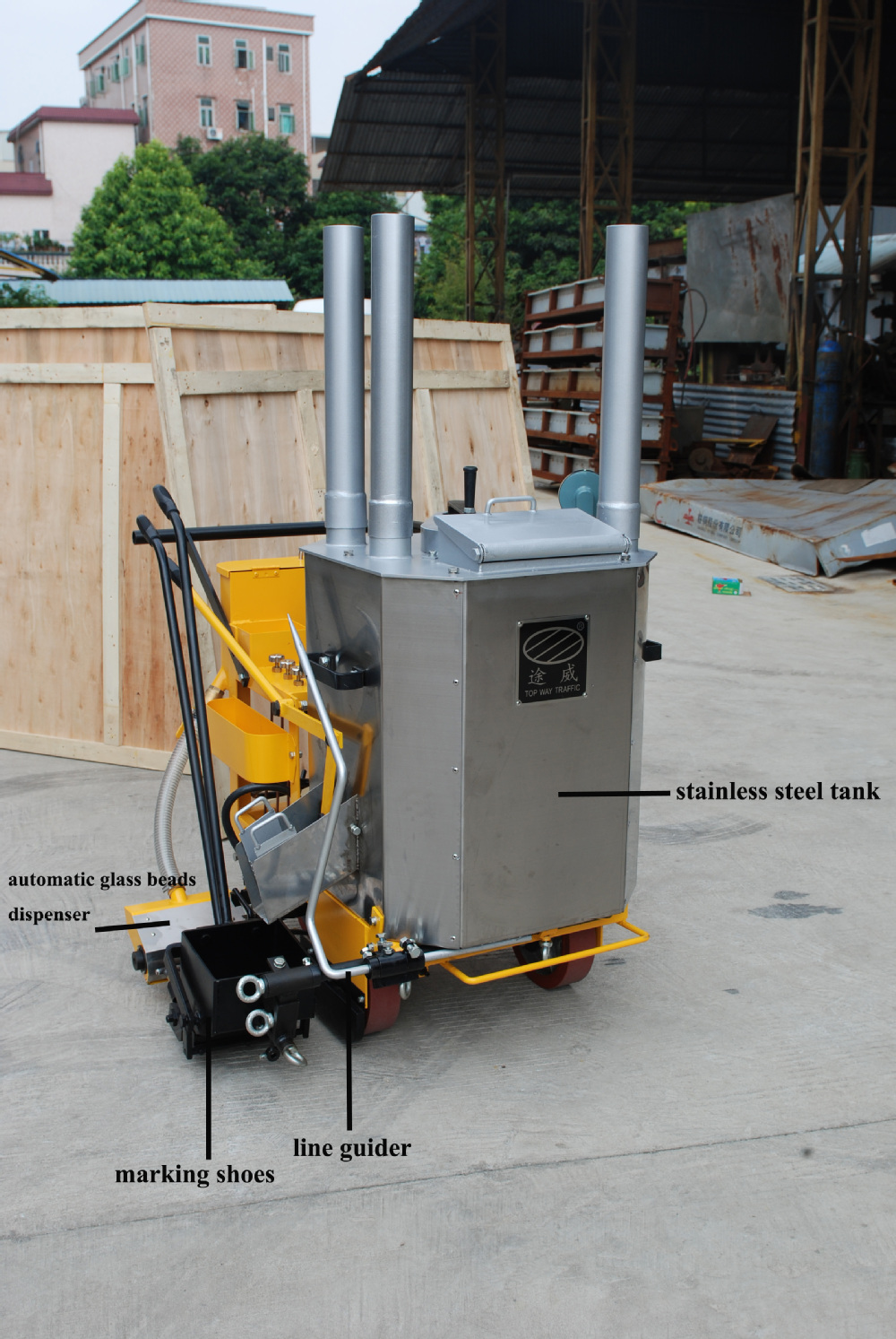 stripping machine for parking lots
