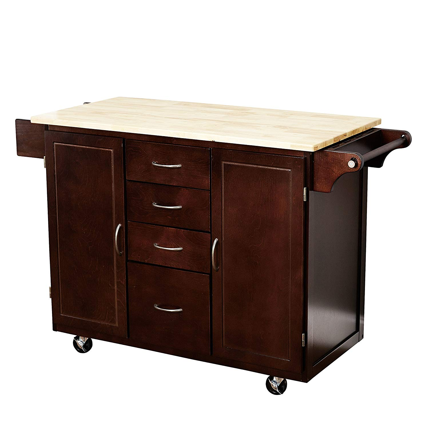Target Marketing Systems Two-Toned Country Cottage Rolling Kitchen Cart with 4 Drawers, 2 Cabinets, 1 Towel Rack, 1 Spice Rack, and an Adjustable Shelf, Espresso/Natural